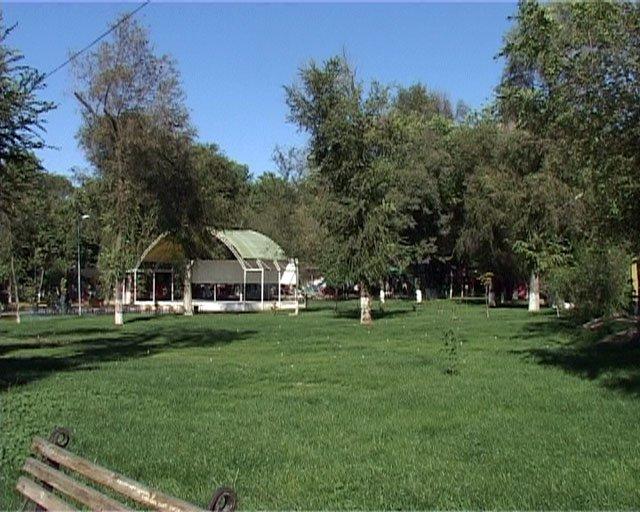 В парке Абая появились зеленые газоны