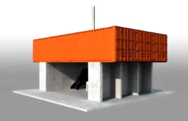Макет здания в начале строительства