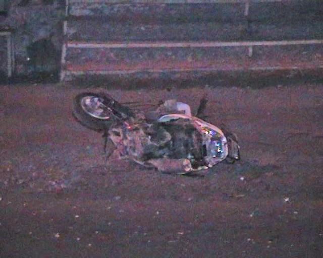 У мотоцикла полетело заднее колесо
