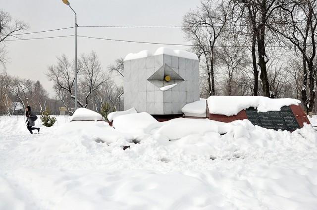 Шымкент накрыло холодным белым ковром