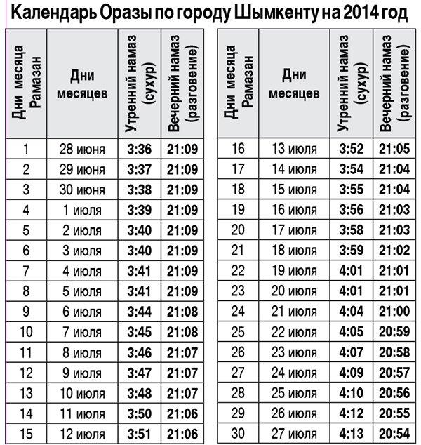 Календарь Оразы