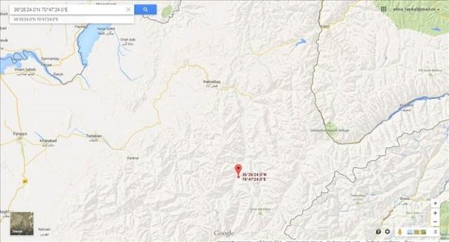 Точное место эпицентра землетрясения (Афганистан)