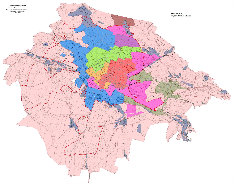 Схема зонирования земель города Шымкента