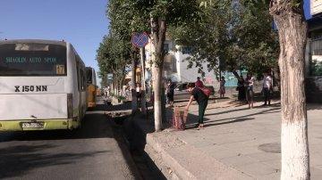Чтобы  попасть в автобус нужно пройти полосу препятствий,прыгая через широкий арык.