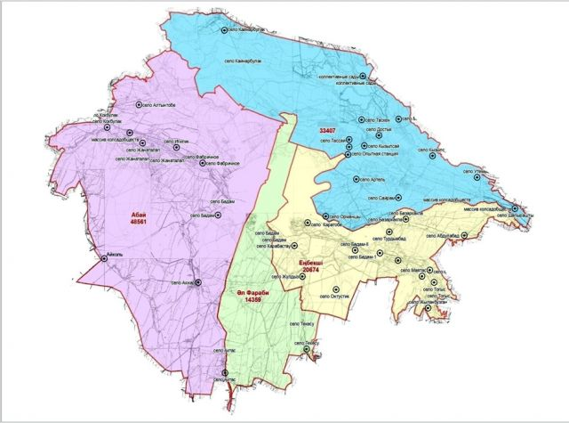 4 района Шымкента