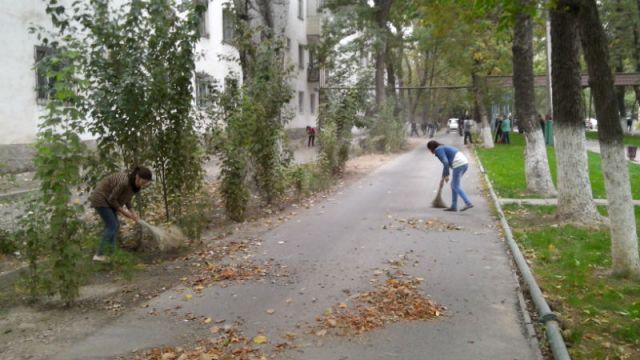 Наводить на улицах города чистоту вышли учителя, медики, студенты, школьники