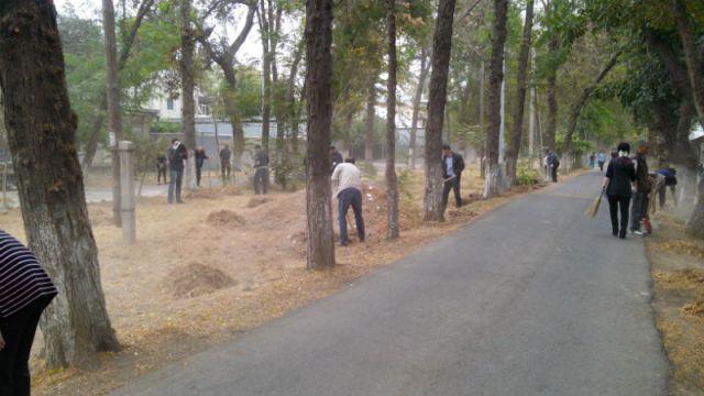 Шымкентцы очищали от мусора и сухой листвы парки и скверы города