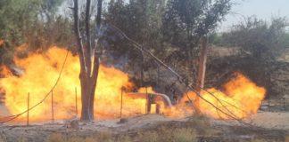 В Шымкенте на улице Дачной загорелся газопровод