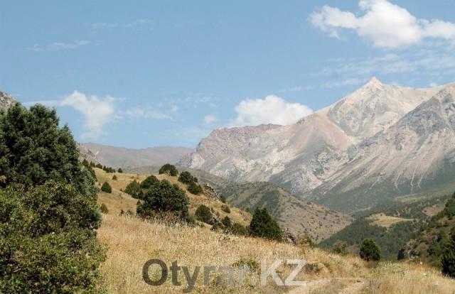 Покорить вершину предстоит в восточной части Угамского хребта.  На фото крайняя гора слева