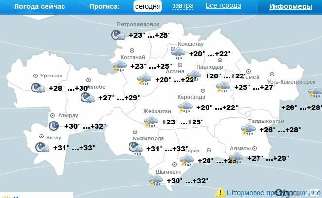 Погода по Казахстану на 29 июля