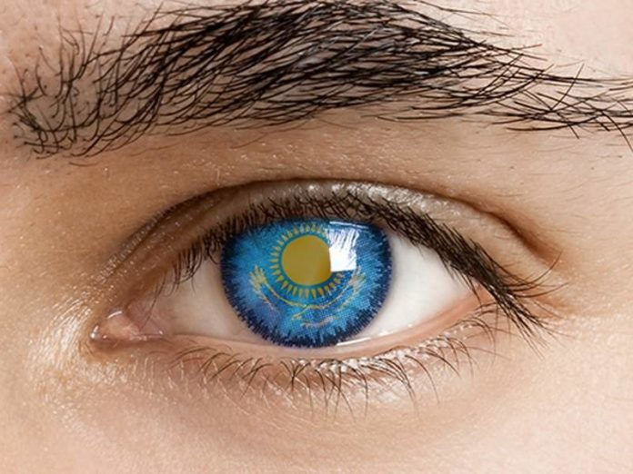 глаз с казахстанским флагом