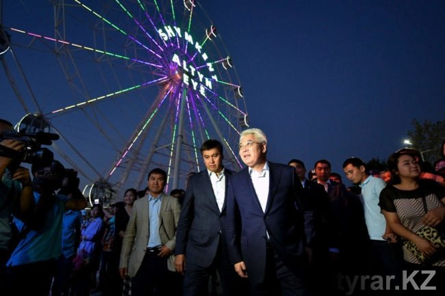 Габидулла Абдрахимов и Бейбут Атамкулов на открытии зоны отдыха «Жайлаукол»