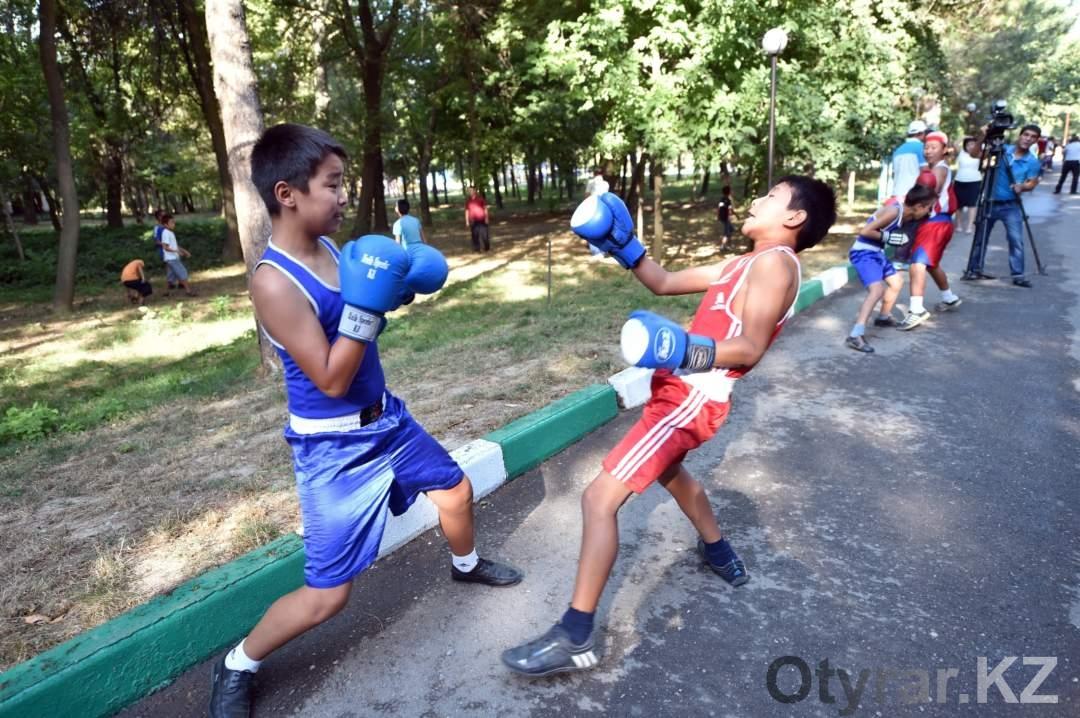 Дети в дендропарке. Бокс