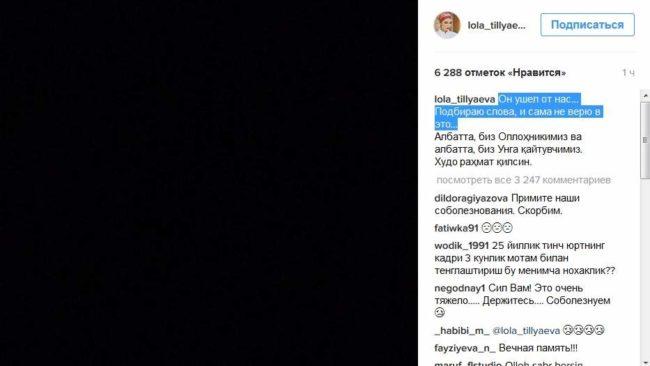 Скриншот сообщения Лолы Каримовой