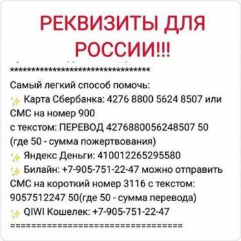 Счета для росиян в помощь Виоле Балан