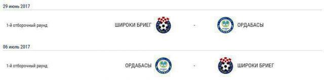 Расписание матчей с официального сайта УЕФА