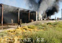 В Туркестане сгорел склад