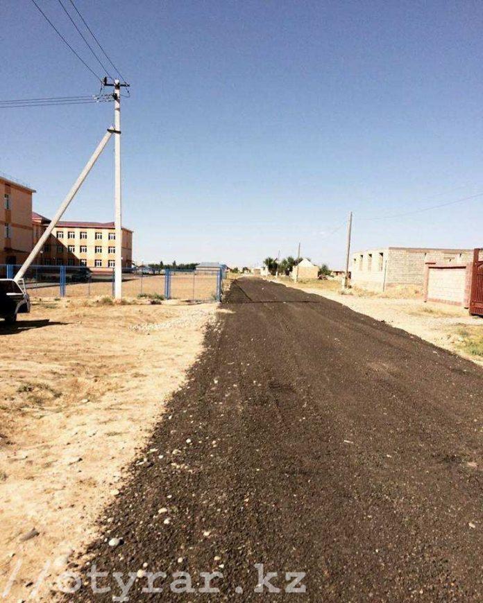 Дорога к новой школе в Кайнар булаке из б/у асфальта
