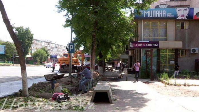 На улице Туркестанской срубили зеленые деревья