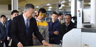 Жансеит Туймебаев на открытии новой мебельной фабрики