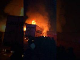 Крупный пожар произошел на рынке в Сарыагаше