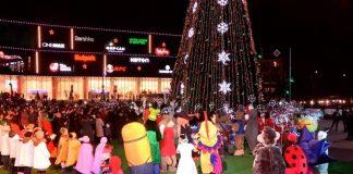 Огни главной новогодней елки зажгли в Шымкенте