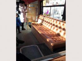 диван в автобусе