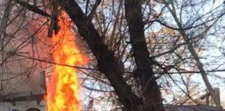 Ларек с едой сгорел в центре Шымкента