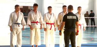 Участники республиканских соревнований по рукопашному бою