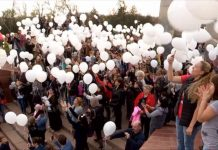 В Шымкенте запустили в небо тысячи белых шаров в память о погибших в Кемерове