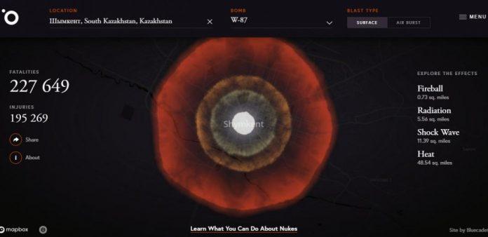 В Интернете появился симулятор ядерной бомбардировки