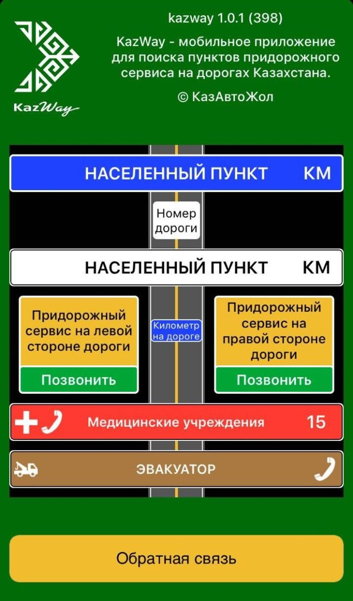 мобильное приложение «Kazway» для поиска пунктов придорожного сервиса