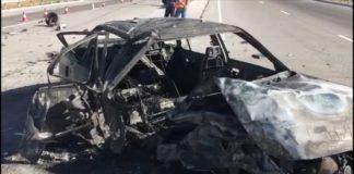 На перевале Казыгурт в Туркестанской области дотла сгорел автомобиль