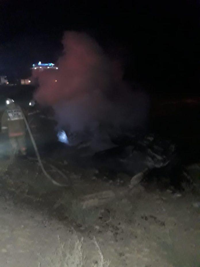 В Туркестанской области автомобиль снес газопровод и сгорел